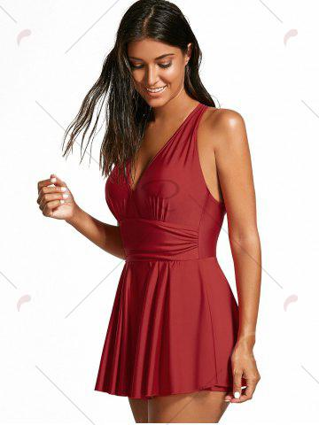Fashion One Piece Strappy Skirted Swimsuit - ONE SIZE RED Mobile