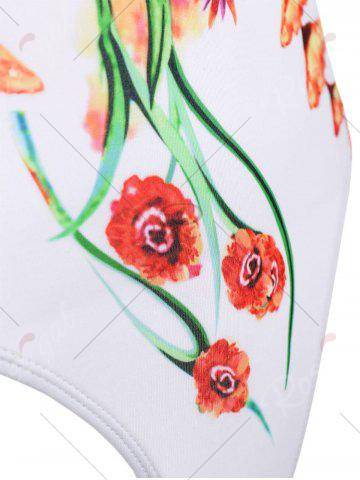 Sale Open Back One Piece Floral Swimsuit - S FLORAL Mobile