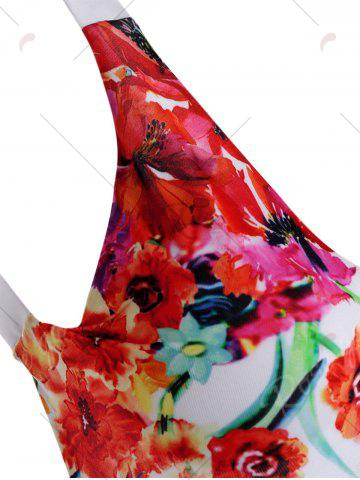 Fashion Open Back One Piece Floral Swimsuit - S FLORAL Mobile