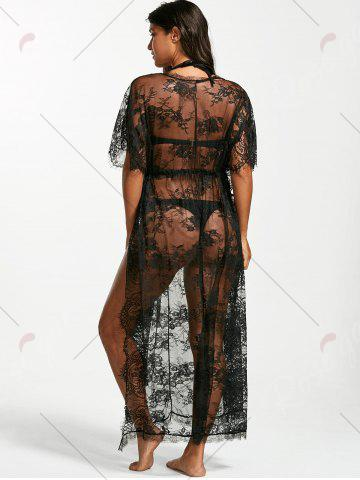 Fancy Sheer Lace Maxi Cover Up Dress for Beach - ONE SIZE BLACK Mobile