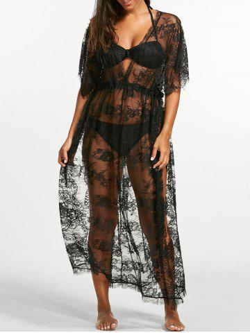 Buy Sheer Lace Maxi Cover Up Dress for Beach BLACK ONE SIZE