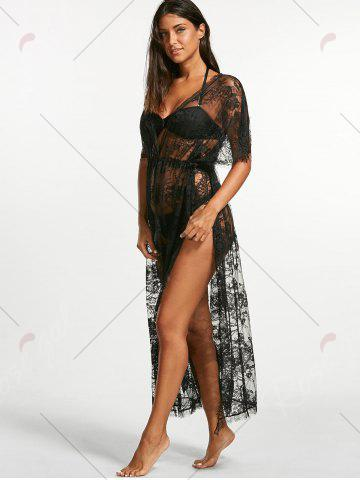 Affordable Sheer Lace Maxi Cover Up Dress for Beach - ONE SIZE BLACK Mobile