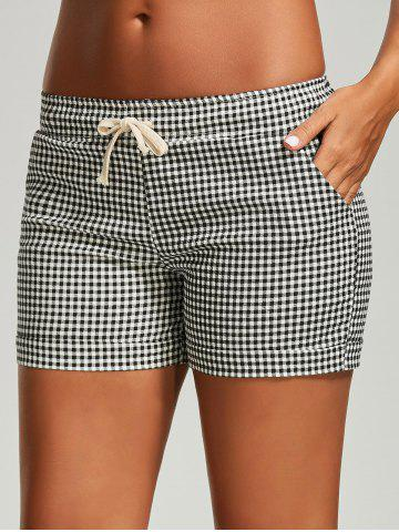 Fashion Drawstring Mini Plaid Shorts