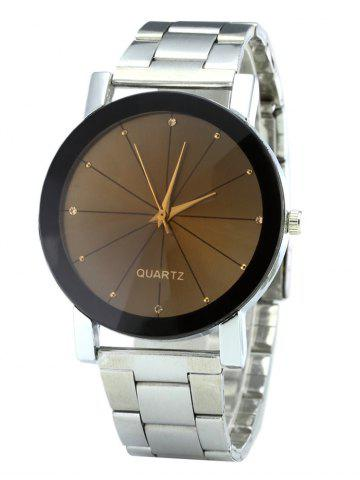 Fancy Rhinestone Steel Strap Analog Quartz Watch - SILVER  Mobile