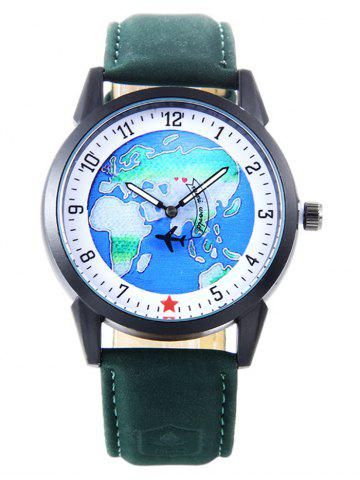 Outfit Faux Leather Strap World Map Number Watch GREEN