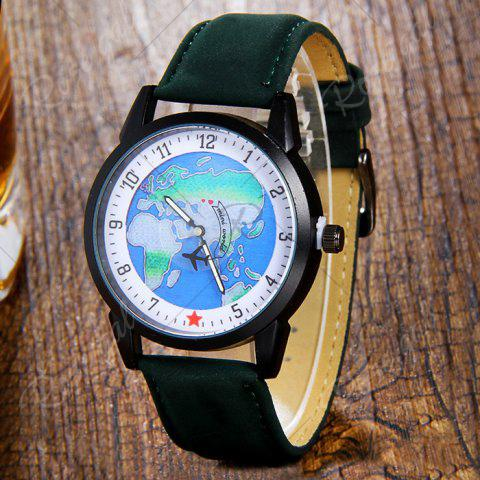 Latest Faux Leather Strap World Map Number Watch - GREEN  Mobile