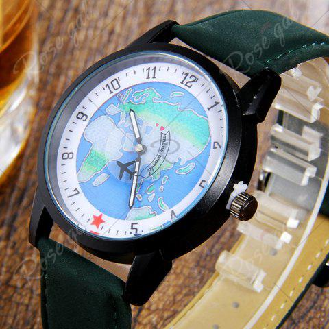 New Faux Leather Strap World Map Number Watch - GREEN  Mobile