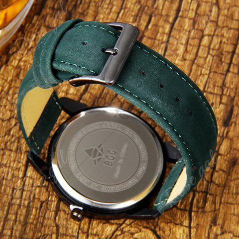 Outfits Faux Leather Strap World Map Number Watch - GREEN  Mobile