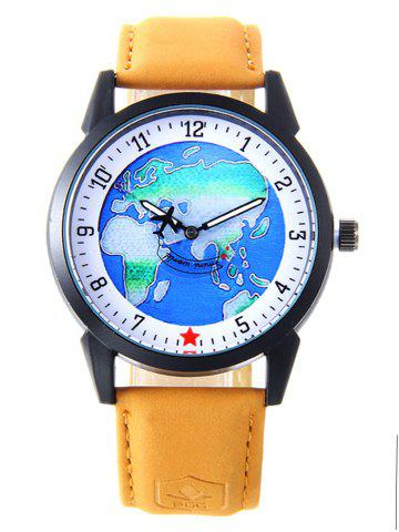 Chic Faux Leather Strap World Map Number Watch YELLOW