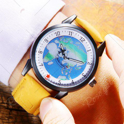Latest Faux Leather Strap World Map Number Watch - YELLOW  Mobile