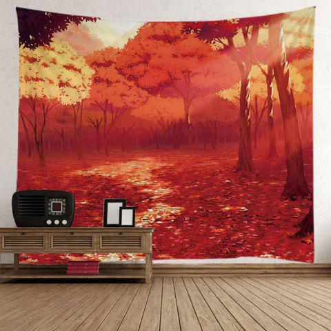 Wall Hanging Nature Forest Autumn Road Foliage Tapestry Eau Rouge W59 pouces*L79 pouces