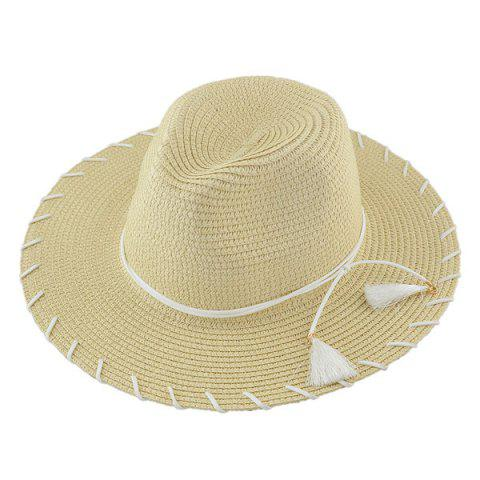 Hot Beach Straw Fedora Hat with Tassel KHAKI