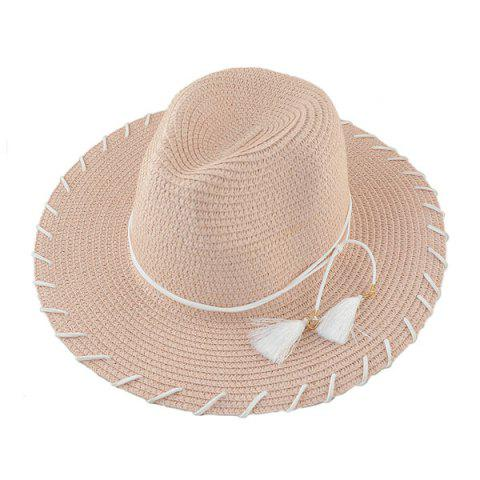 Outfits Beach Straw Fedora Hat with Tassel - PINK  Mobile