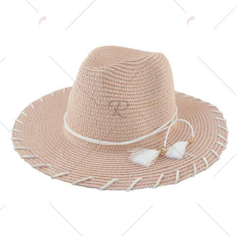 New Beach Straw Fedora Hat with Tassel - PINK  Mobile