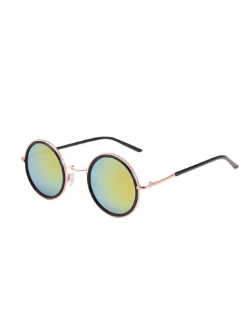Mirrored Round Metal Frame Sunglasses with Box - Yellow