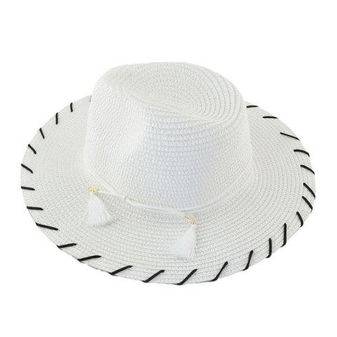 Discount Beach Straw Fedora Hat with Tassel - WHITE  Mobile
