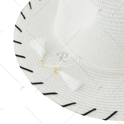 Outfits Beach Straw Fedora Hat with Tassel - WHITE  Mobile