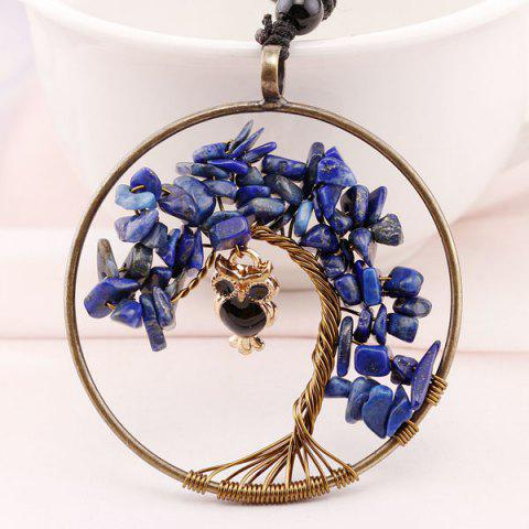 Tree of Life DIY Owl Circle Necklace - Blue - M