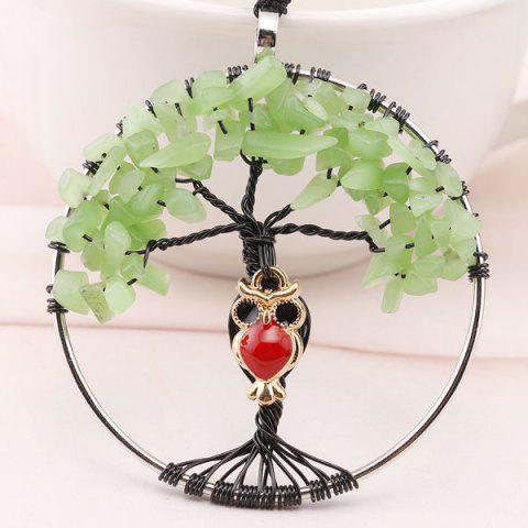 Tree of Life DIY Owl Charm Necklace - Green - W24 Inch * L71 Inch