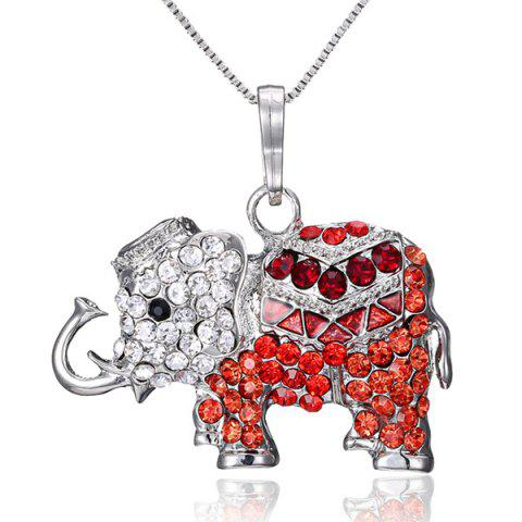 Faux Crystal Inlay Elephant Pendant Necklace - Red - 7