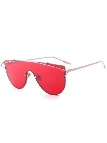 Cheap Shield Sunglasses with Metallic Long Crossbar RED