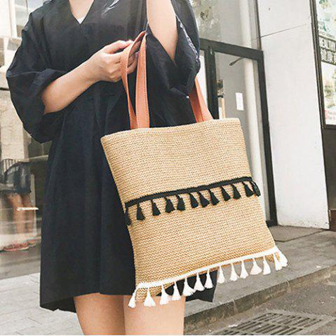 Fashion Tassels Straw Woven Shoulder Bag KHAKI