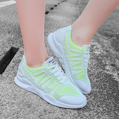 Cheap Breathable Mesh Lace Up Sneakers - 38 GREEN Mobile