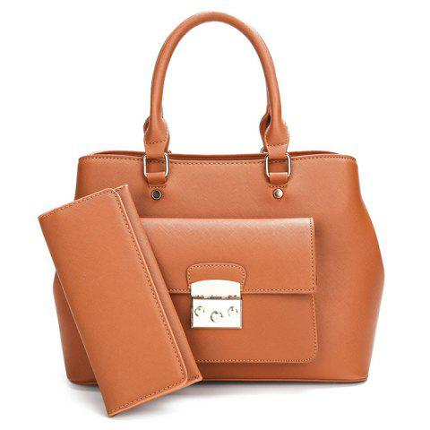 PU Leather Clutch Wallet and Handbag - Brown