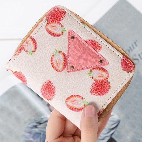 Fruit Print Bi Fold Small Wallet - Red