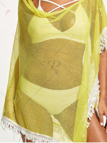 Chic Tassel Fishnet Swing Tunic Cover Up - ONE SIZE YELLOW Mobile