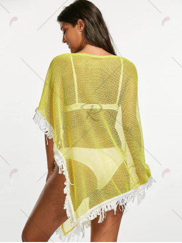 Outfit Tassel Fishnet Swing Tunic Cover Up - ONE SIZE YELLOW Mobile