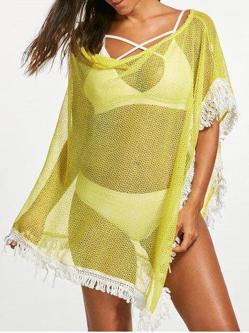 Hot Tassel Fishnet Swing Tunic Cover Up - ONE SIZE YELLOW Mobile