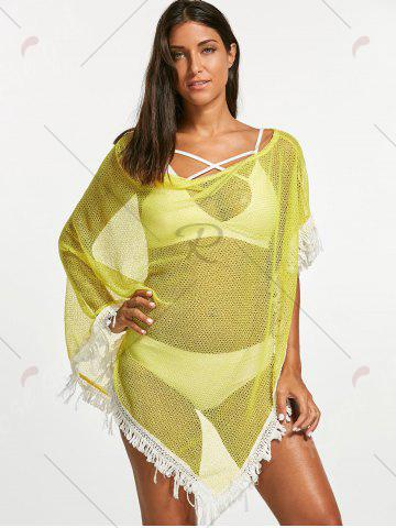 Fashion Tassel Fishnet Swing Tunic Cover Up - ONE SIZE YELLOW Mobile