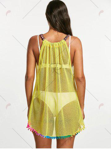 Chic Fishnet Cover Up Dress - ONE SIZE YELLOW Mobile