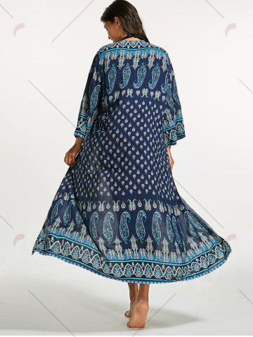Store Tribal Print Bohemian Longline Cover Up - ONE SIZE BLUE Mobile