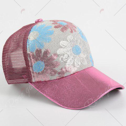 Latest Floral Pattern Sequin Mesh Splicing Baseball Hat - WINE RED  Mobile