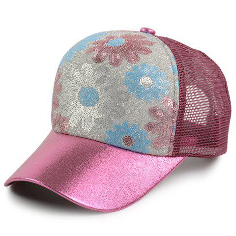 Best Floral Pattern Sequin Mesh Splicing Baseball Hat - WINE RED  Mobile