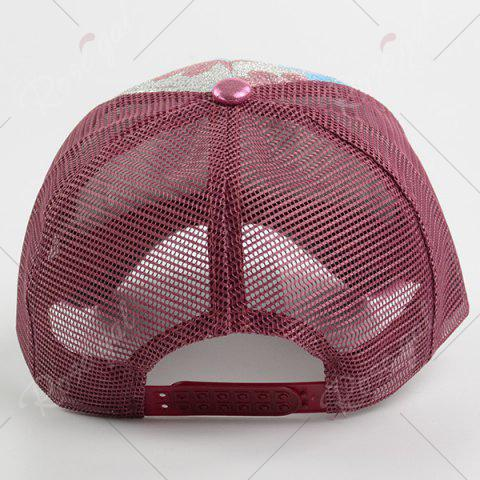 Outfits Floral Pattern Sequin Mesh Splicing Baseball Hat - WINE RED  Mobile