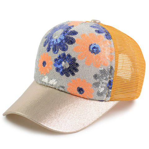 Latest Floral Pattern Sequin Mesh Splicing Baseball Hat - YELLOW  Mobile