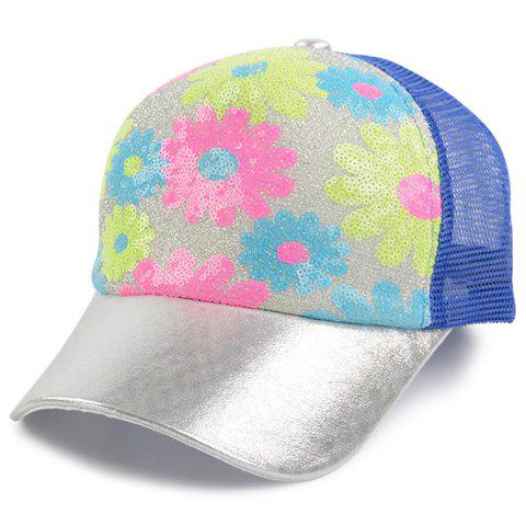 Outfits Floral Pattern Sequin Mesh Splicing Baseball Hat BLUE
