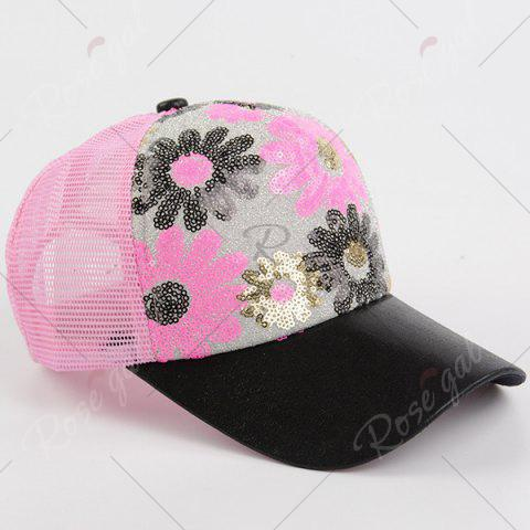 Store Floral Pattern Sequin Mesh Splicing Baseball Hat - SHALLOW PINK  Mobile