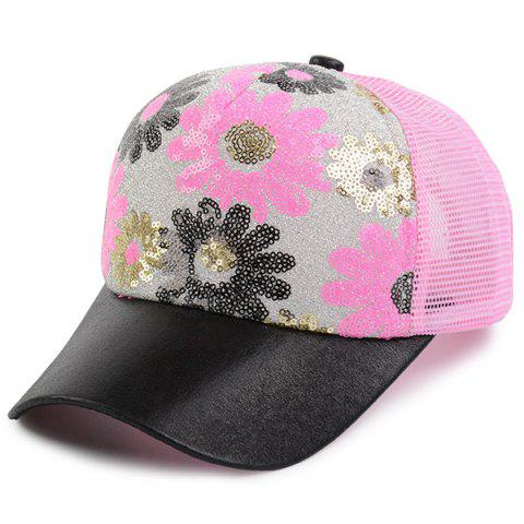 Fancy Floral Pattern Sequin Mesh Splicing Baseball Hat - SHALLOW PINK  Mobile
