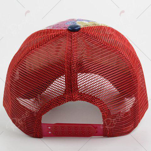 Unique Floral Pattern Sequin Mesh Splicing Baseball Hat - RED  Mobile