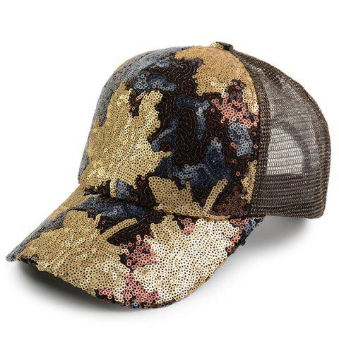 Unique Sequin Maple Leaf Pattern Baseball Cap BROWN