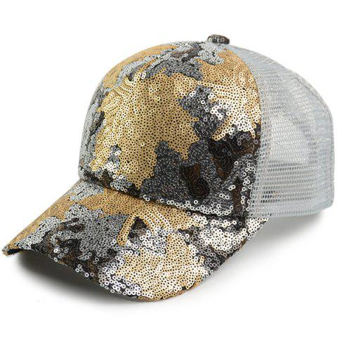 Discount Sequin Maple Leaf Pattern Baseball Cap WHITE