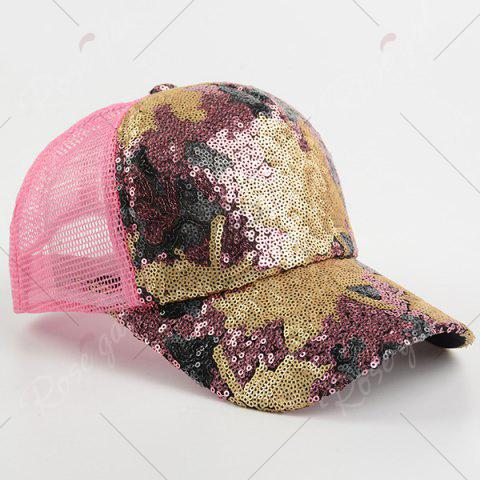 New Sequin Maple Leaf Pattern Baseball Cap - PAPAYA  Mobile