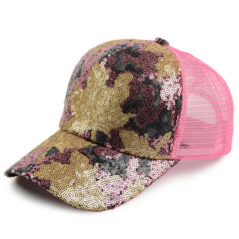 Affordable Sequin Maple Leaf Pattern Baseball Cap - PAPAYA  Mobile