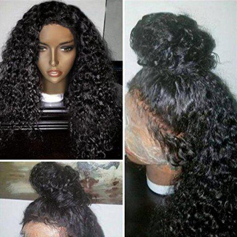 Outfits Free Part Long Shaggy Afro Curly Lace Front Human Hair Wig NATURAL BLACK