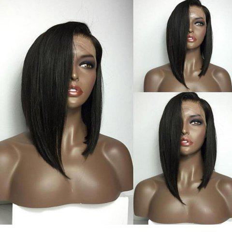 Fancy Medium Deep Side Part High Low Straight Bob Lace Front Human Hair Wig