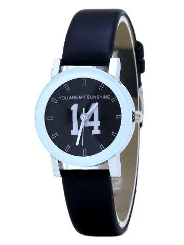 PU Leather Band Number Analog Quartz Watch - Full Black